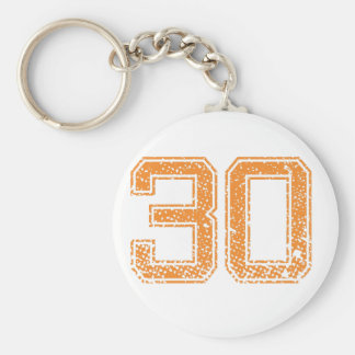 Orange Sports Jerzee Number 30.png Basic Round Button Key Ring