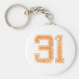 Orange Sports Jerzee Number 31.png Basic Round Button Key Ring
