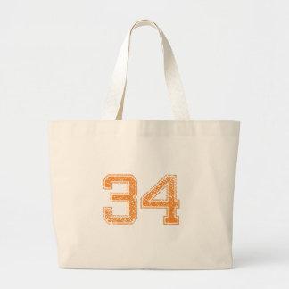 Orange Sports Jerzee Number 34.png Jumbo Tote Bag