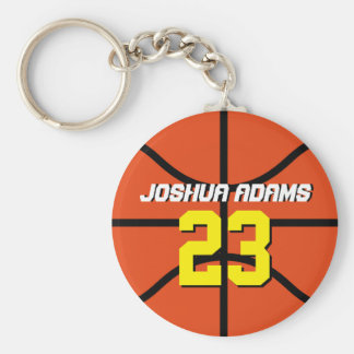 Orange Sports Team Athletes Basketball Keychain