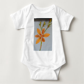 Orange spotted Iris called a  Blackberry lily Baby Bodysuit