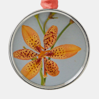 Orange spotted Iris called a  Blackberry lily Metal Ornament