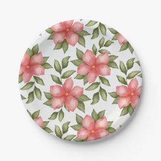 Orange spring watercolor flowers and vines 7 inch paper plate