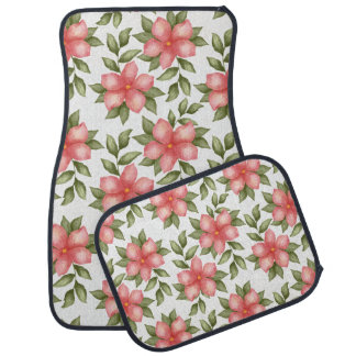 Orange spring watercolor flowers and vines car mat