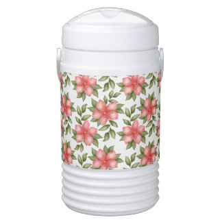 Orange spring watercolor flowers and vines drinks cooler
