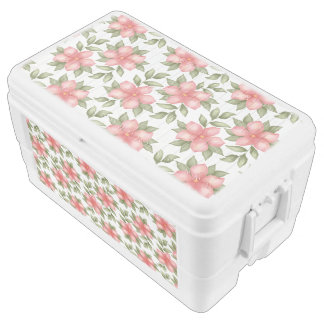 Orange spring watercolor flowers and vines ice chest