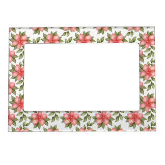 Orange spring watercolor flowers and vines magnetic picture frame