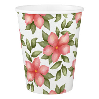 Orange spring watercolor flowers and vines paper cup