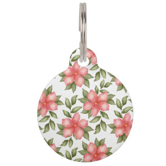 Orange spring watercolor flowers and vines pet ID tag