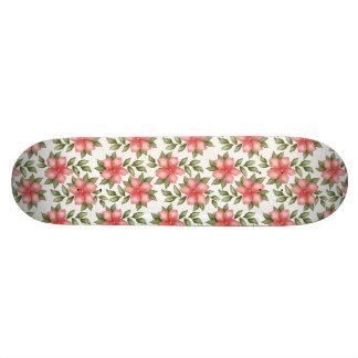 Orange spring watercolor flowers and vines skateboards