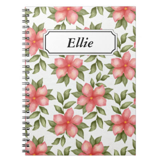 Orange spring watercolor flowers and vines spiral notebook