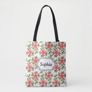 Orange spring watercolor flowers and vines tote bag