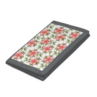 Orange spring watercolor flowers and vines tri-fold wallet