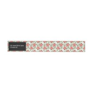 Orange spring watercolor flowers and vines wraparound address label
