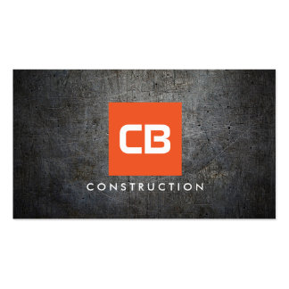 Orange Square Monogram Grunge Metal Construction Pack Of Standard Business Cards