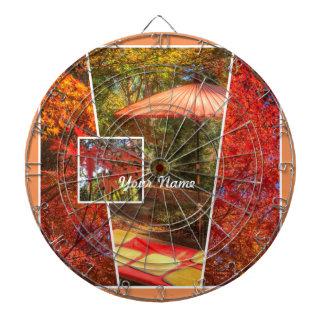 Orange Square Photo Fall Template Autumn Leaves Dartboard With Darts