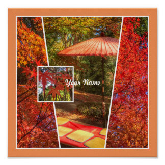 Orange Square Photo Fall Template Autumn Leaves Posters