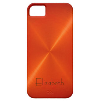 Orange Stainless Steel Metal Look Barely There iPhone 5 Case