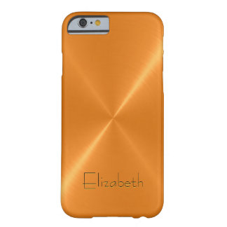 Orange Stainless Steel Metal Look Barely There iPhone 6 Case