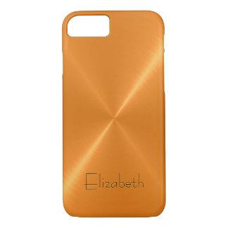 Orange Stainless Steel Metal Look iPhone 7 Case