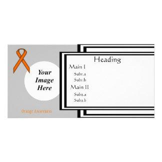 Orange Standard Ribbon Template Photo Card