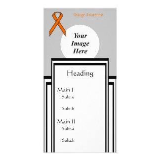 Orange Standard Ribbon Template Photo Cards