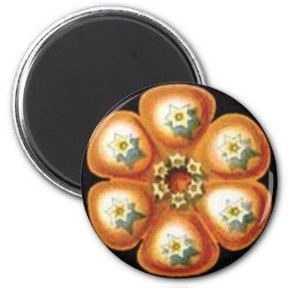 orange star flower pattern magnet