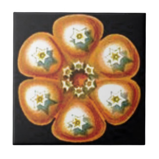 orange star flower pattern tile
