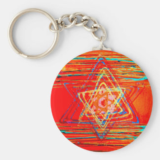 Orange Star of David Key Ring