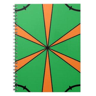 orange starbursts spiral notebook