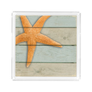 Orange Starfish Acrylic Tray