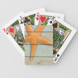 Orange Starfish Bicycle Playing Cards