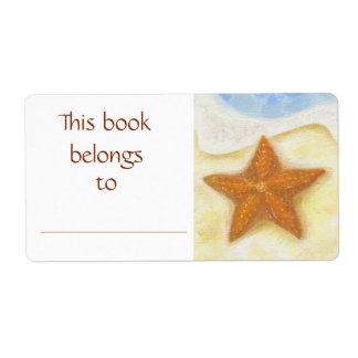 Orange Starfish book label Shipping Label