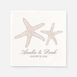 Orange Starfish Disposable Napkins