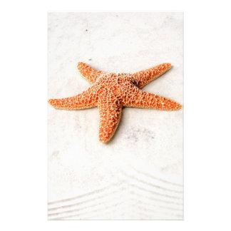 Orange starfish on a white sandy beach custom stationery