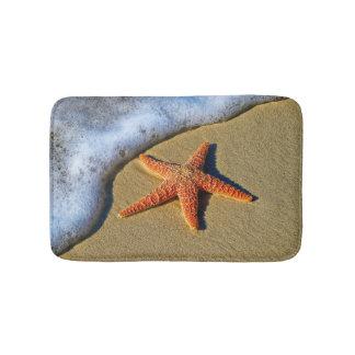 Orange Starfish On Beach Bath Mat