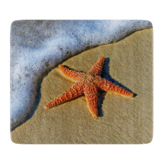 Orange Starfish On Beach Cutting Board
