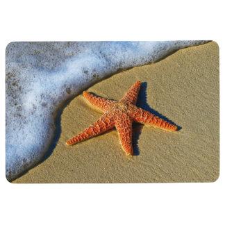 Orange Starfish On Beach Floor Mat