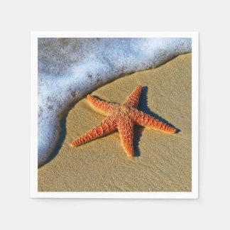 Orange Starfish On Beach Paper Serviettes