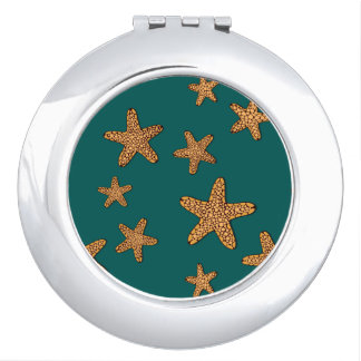 Orange Starfish Pattern Vanity Mirror