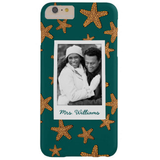 Orange Starfish Pattern | Your Photo & Name Barely There iPhone 6 Plus Case