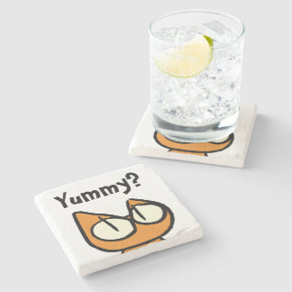 Orange Staring Cats Stone Beverage Coaster