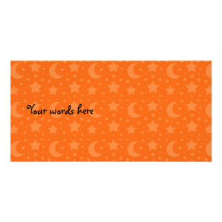orange stars and moon patterns personalised photo card