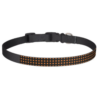 Orange Stars Black Pet Collar