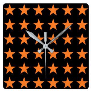 Orange Stars Black Square Wall Clock