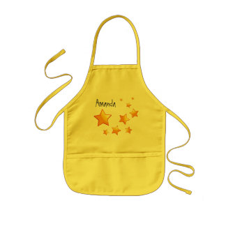 Orange Stars Kids Custom Name W1557 Kids Apron