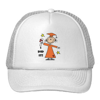 Orange Stick Figure Girl Graduate Trucker Hat