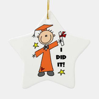 Orange Stick Figure Male Graduate Ceramic Star Decoration