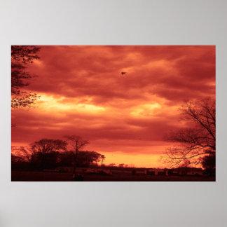 Orange Stormy Sky Poster