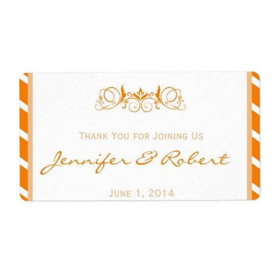 Orange Stripe Floral Accent Water Bottle Label Shipping Label